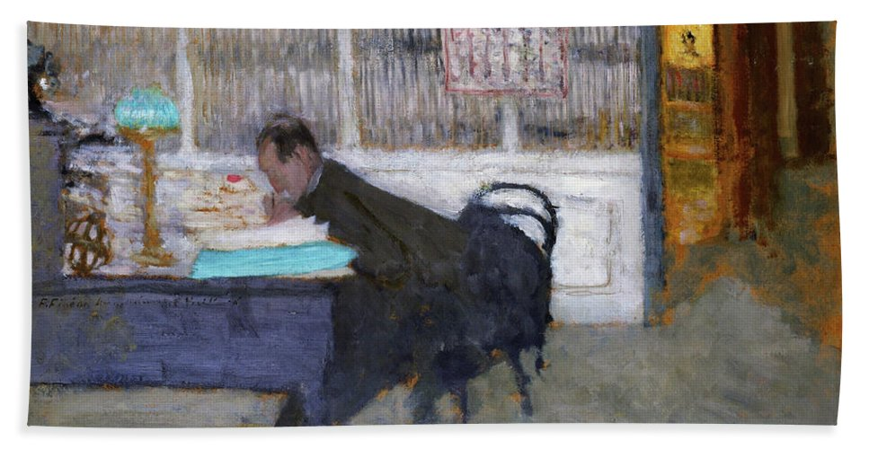 At The Revue Blanche Bath Towel featuring the painting At The Revue Blanche - Digital Remastered Edition by Edouard Vuillard