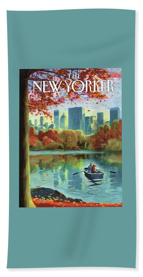 Autumn Central Park Bath Sheet featuring the drawing Autumn Central Park by Eric Drooker