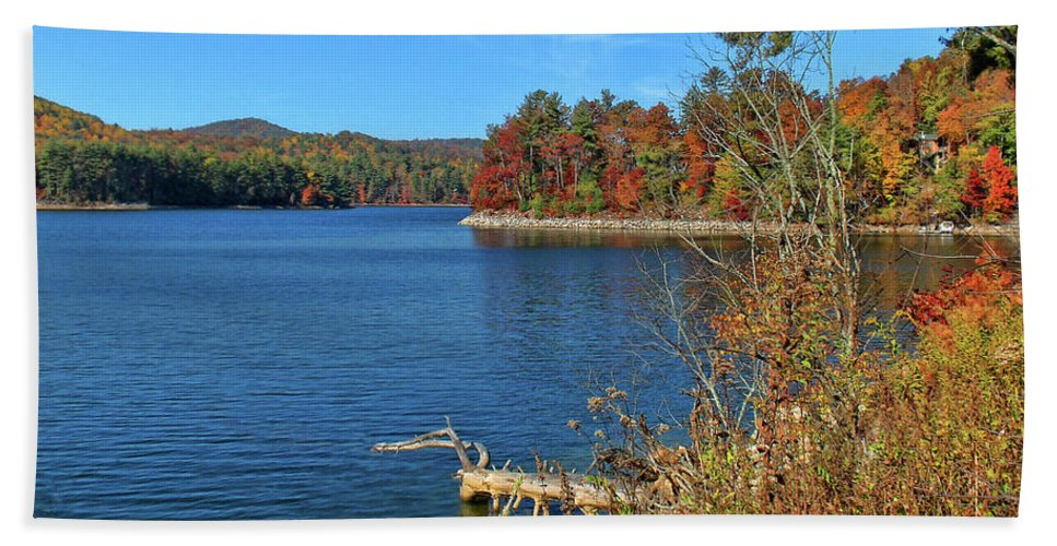 Lake Glenville Hand Towel featuring the photograph Autumn In North Carolina by HH Photography of Florida