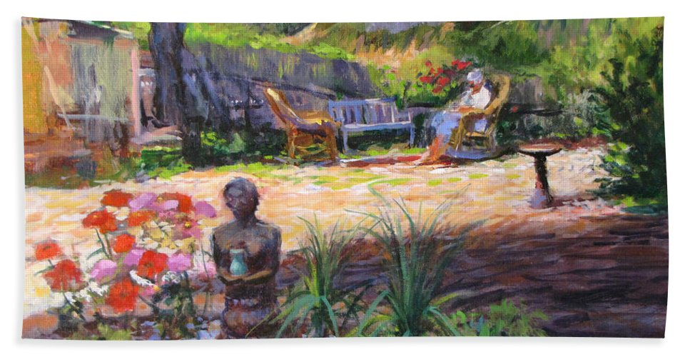 California Bath Towel featuring the painting Ava's Garden, San Diego by Peter Salwen
