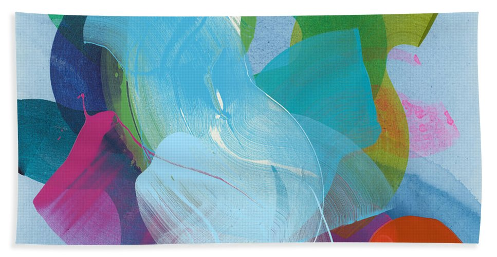 Abstract Hand Towel featuring the painting Away A While by Claire Desjardins