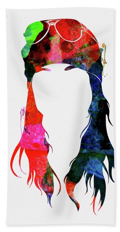 Axl Rose Bath Towel featuring the mixed media Axl Rose Watercolor by Naxart Studio
