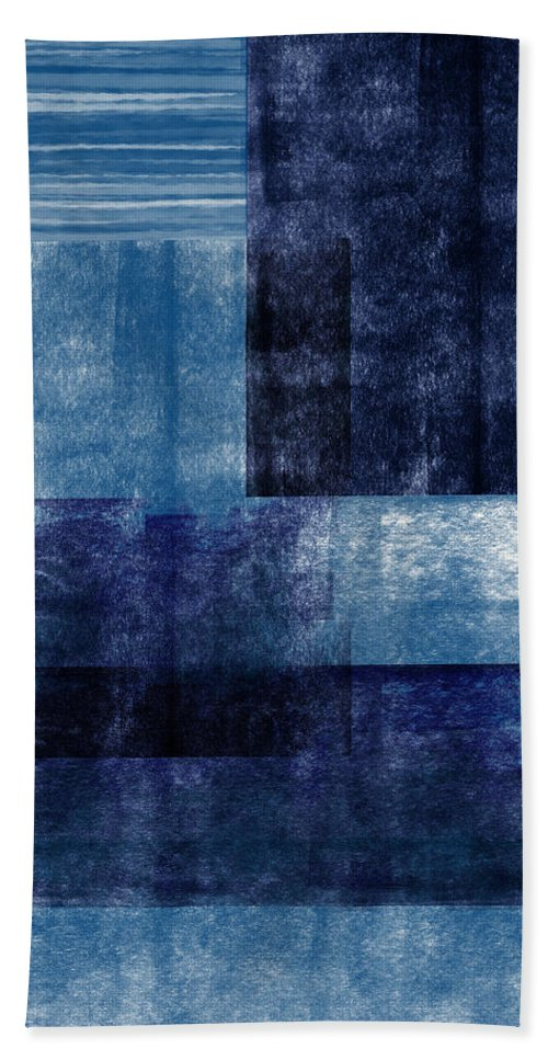 Abstract Bath Towel featuring the mixed media Azul Blocks 1- Art by Linda Woods by Linda Woods