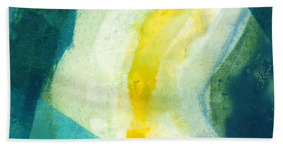Abstract Hand Towel featuring the painting Back by Claire Desjardins
