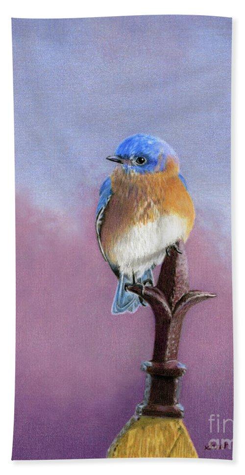 Bluebird Bath Sheet featuring the painting Backyard Bluebird by Sarah Batalka