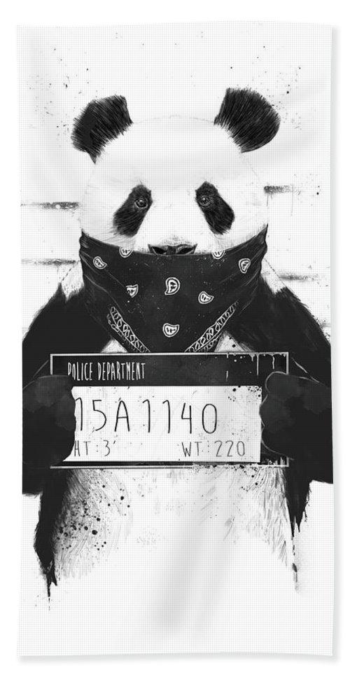 Panda Bath Towel featuring the drawing Bad panda by Balazs Solti