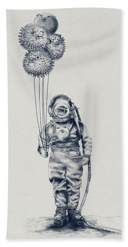 Pen And Ink Bath Towel featuring the drawing Balloon Fish Option by Eric Fan