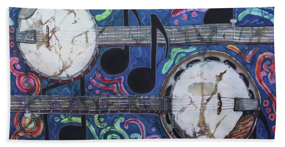 Banjos Hand Towel featuring the painting Banjos by Sue Duda