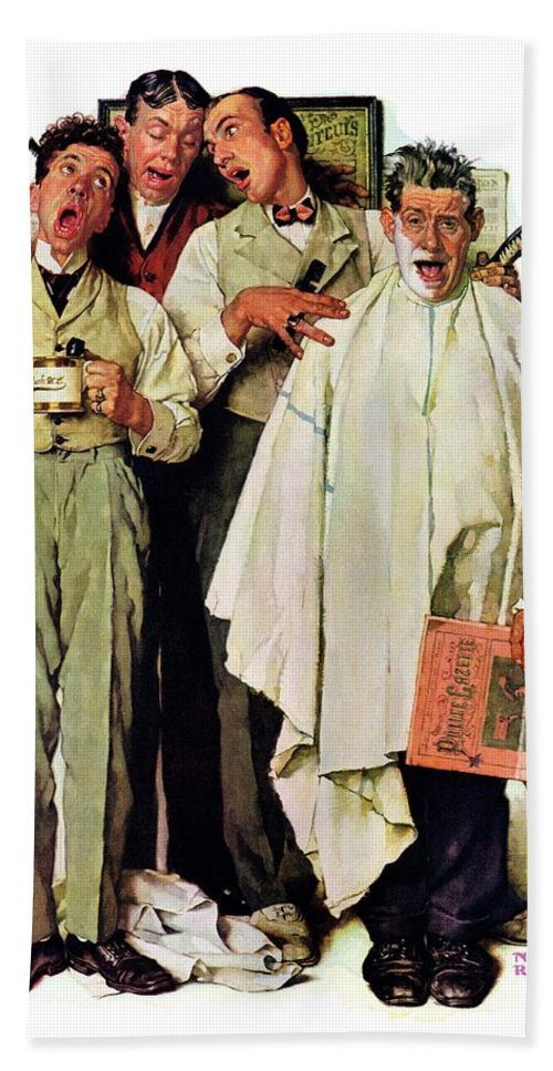 Barbers Hand Towel featuring the drawing Barbershop Quartet by Norman Rockwell