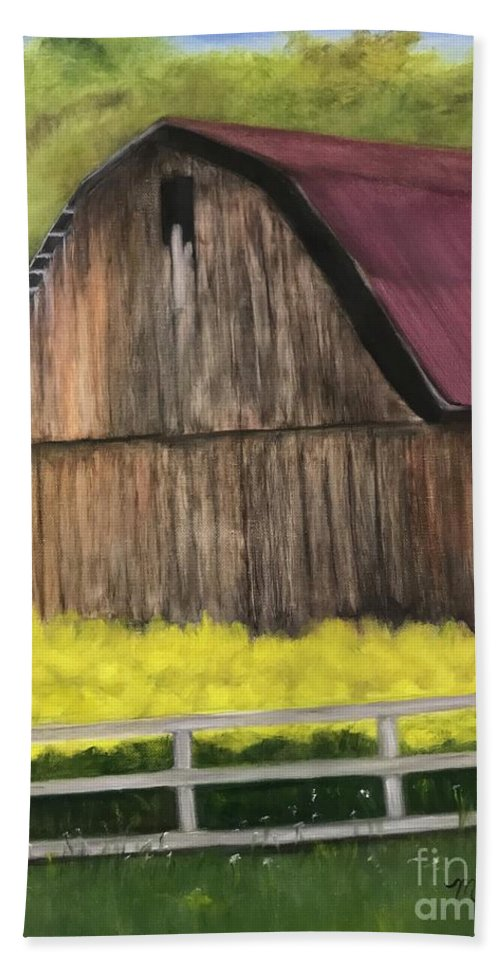Barn Hand Towel featuring the painting Barn by Sheila Mashaw