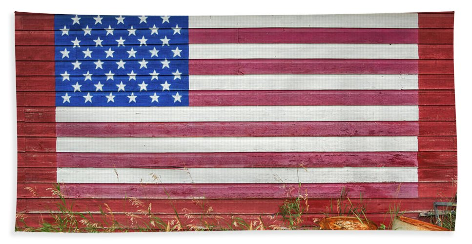 American Flag Bath Towel featuring the photograph Barn Side Flag by Todd Klassy