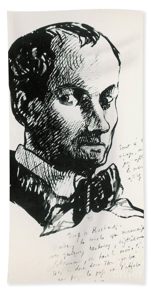 Self-portrait Hand Towel featuring the drawing Baudelaire Self-portrait by Charles Baudelaire
