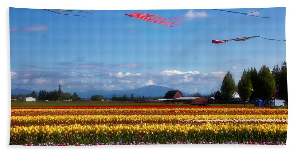 Tulip Bath Towel featuring the photograph Beautiful Kites And Tulip Fields by Garry Gay
