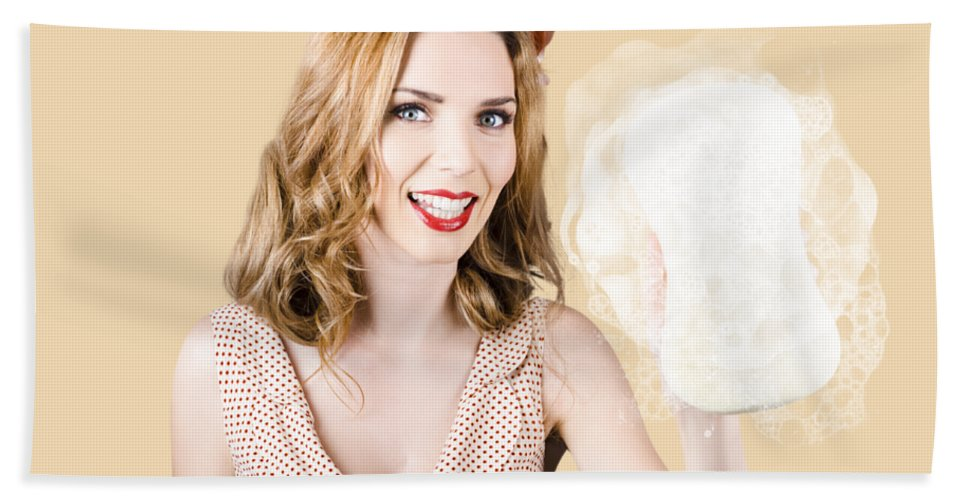 Cleaner Bath Towel featuring the photograph Beautiful Pin Up Girl With Car Wash Sponge by Jorgo Photography - Wall Art Gallery