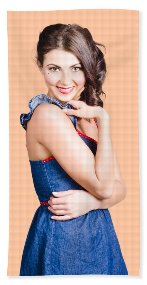 Woman Bath Towel featuring the photograph Beautiful Woman Wearing Denim Dress Retro Fashion by Jorgo Photography - Wall Art Gallery