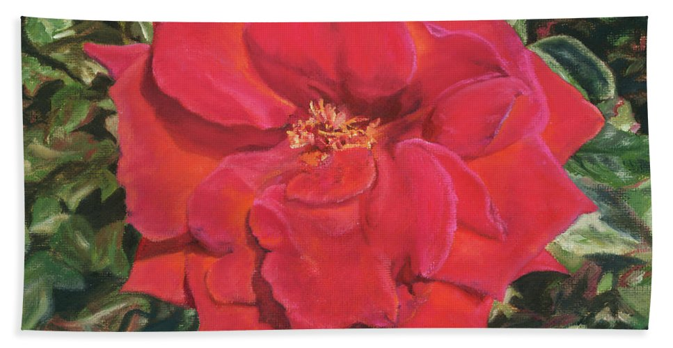 Red Rose Bath Sheet featuring the painting Becky by Pamela Hastings