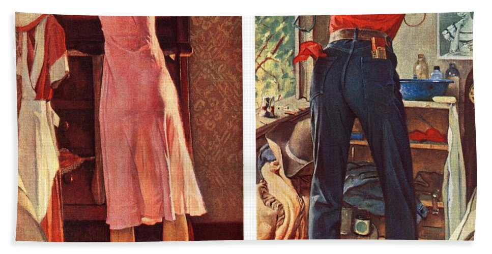 Cowboy Bath Towel featuring the drawing Before The Date by Norman Rockwell