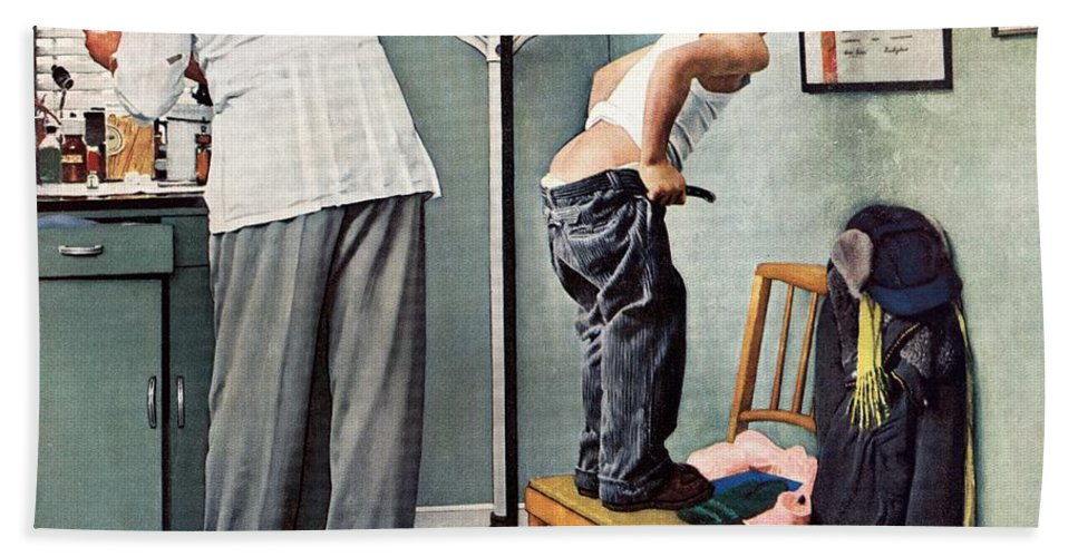 Bottoms Bath Towel featuring the drawing Before The Shot by Norman Rockwell