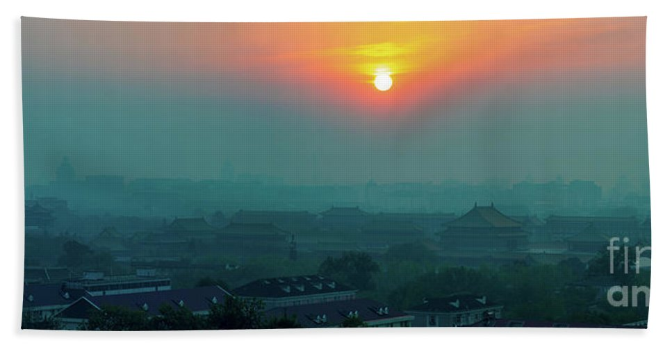 China Hand Towel featuring the photograph Beijing Forbidden City Sunset Panorama by Mike Reid