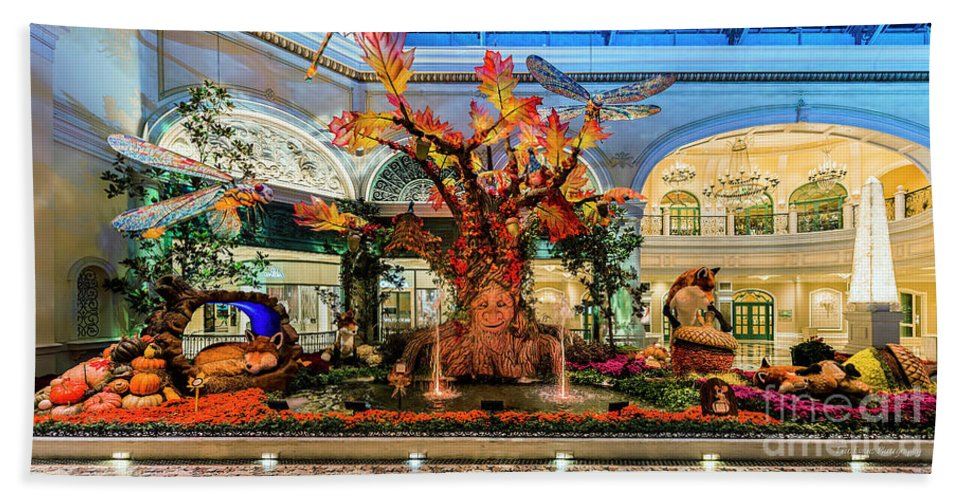 Bellagio Conservatory Bath Sheet featuring the photograph Bellagio Enchanted Talking Tree Ultra Wide 2018 2 To 1 Aspect Ratio by Aloha Art