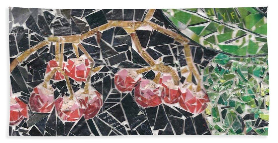 Berries Bath Towel featuring the mixed media Berries by Karla Clark