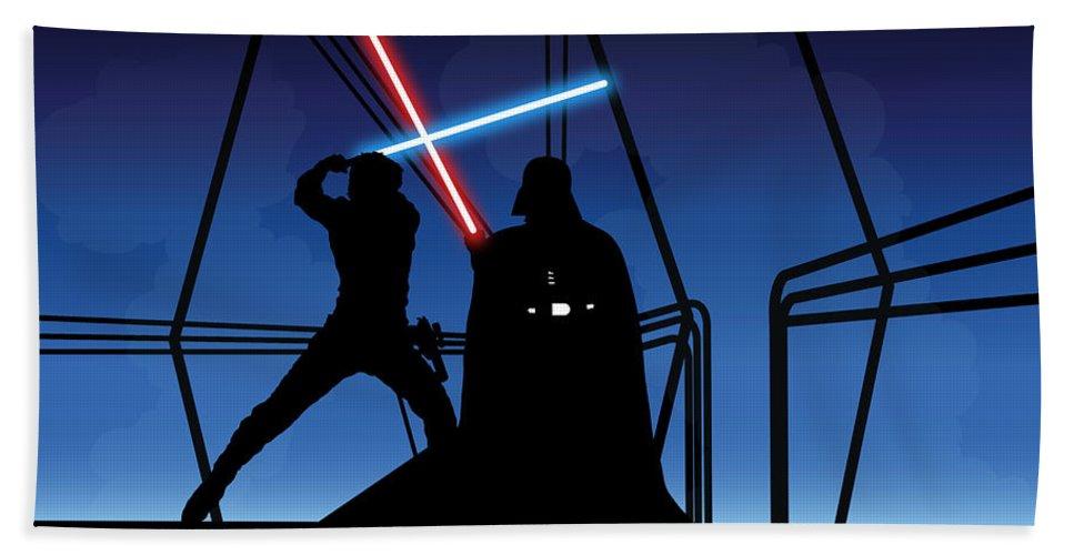 Darth Vader Bath Towel featuring the digital art Bespin Duel by Nathan Shegrud