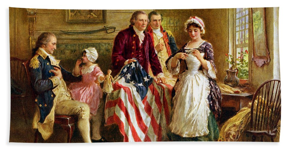George Washington Bath Towel featuring the painting Betsy Ross And General George Washington by War Is Hell Store