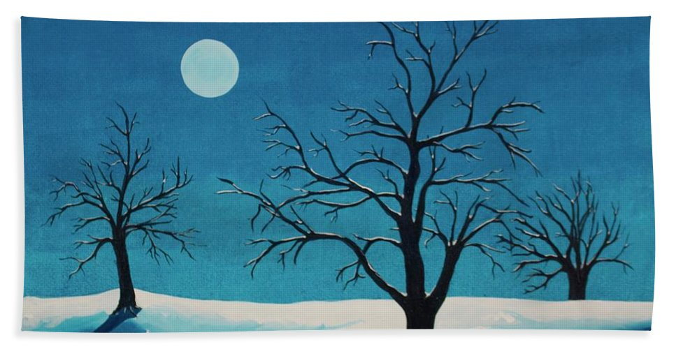 Blue Bath Towel featuring the painting Beyond This Moment by Rollin Kocsis