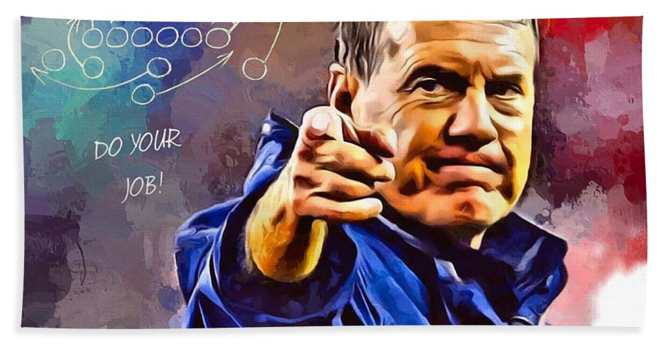 American Football Bath Towel featuring the digital art Bill Belichick Do Your Job Portrait by Scott Wallace Digital Designs