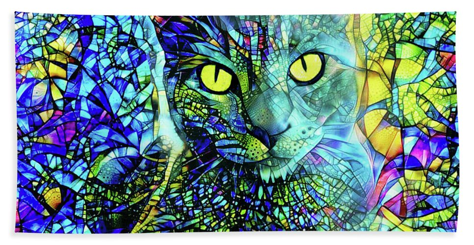 Gray Cat Bath Towel featuring the digital art Binx The Stained Glass Cat by Peggy Collins