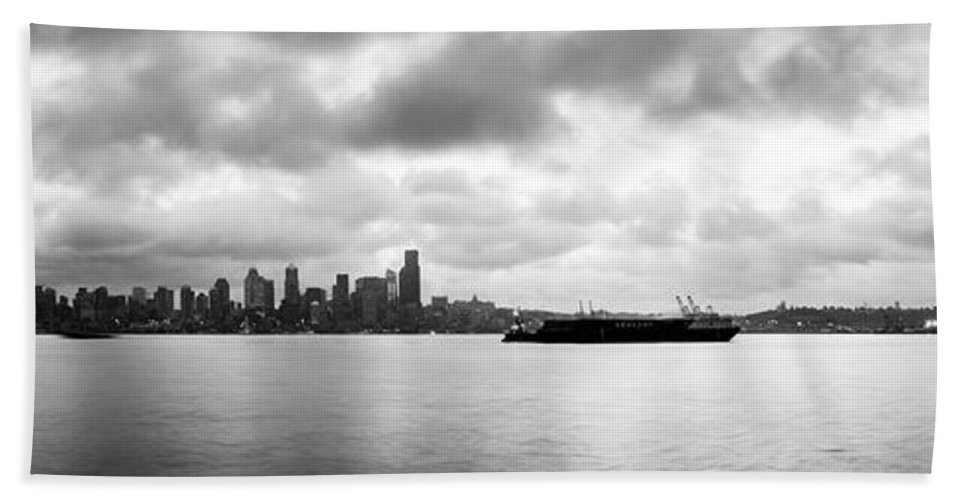 Dawn Bath Towel featuring the photograph Black And White Panorama Of Seattle Skyline Reflected On The Bay by PorqueNo Studios