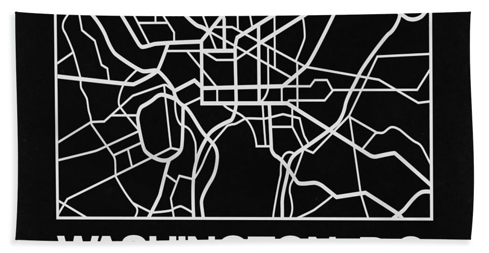 Washington Hand Towel featuring the digital art Black Map Of Washington, D.c. by Naxart Studio