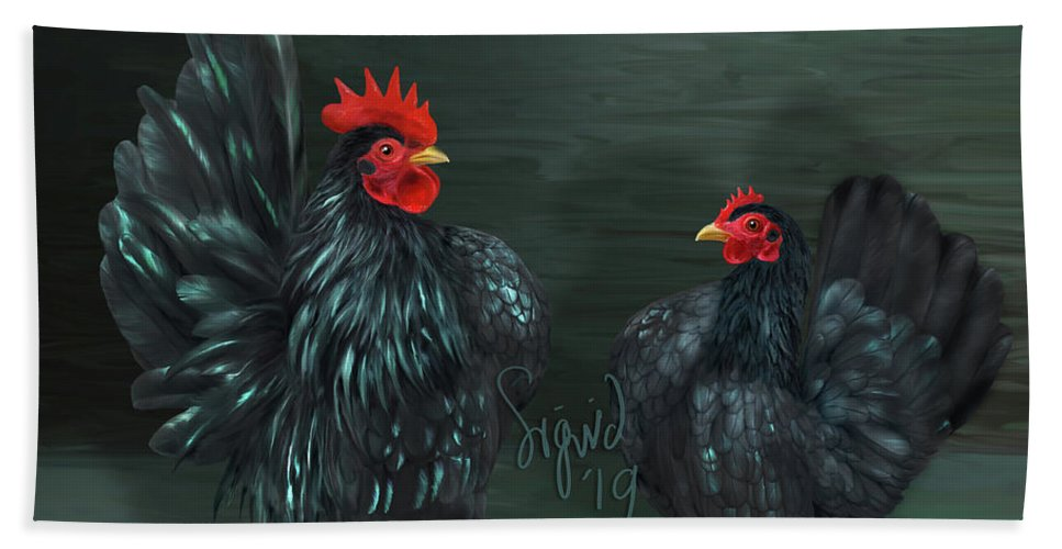 Black Seramas Bath Towel featuring the digital art Black Serama Pair by Sigrid Van Dort