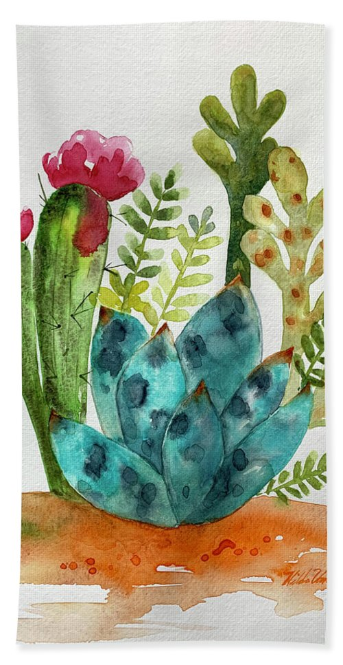 Blue Agave Bath Towel featuring the painting Blue Agave Cactus by Hilda Vandergriff