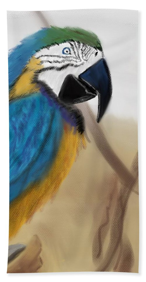Parrot Hand Towel featuring the digital art Blue Parrot by Fe Jones