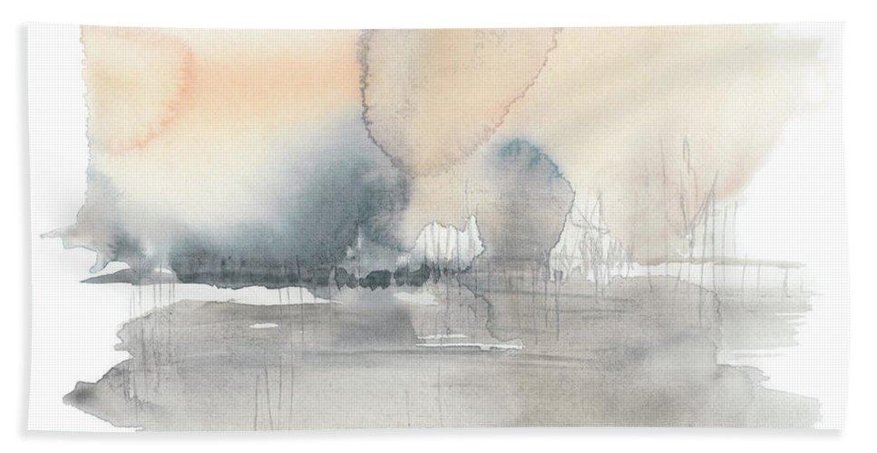 Abstract Bath Towel featuring the painting Blush Haze II by Jennifer Goldberger