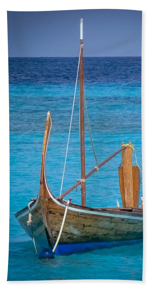 Boat Bath Towel featuring the digital art Boat In The Blue by Eric Nagel