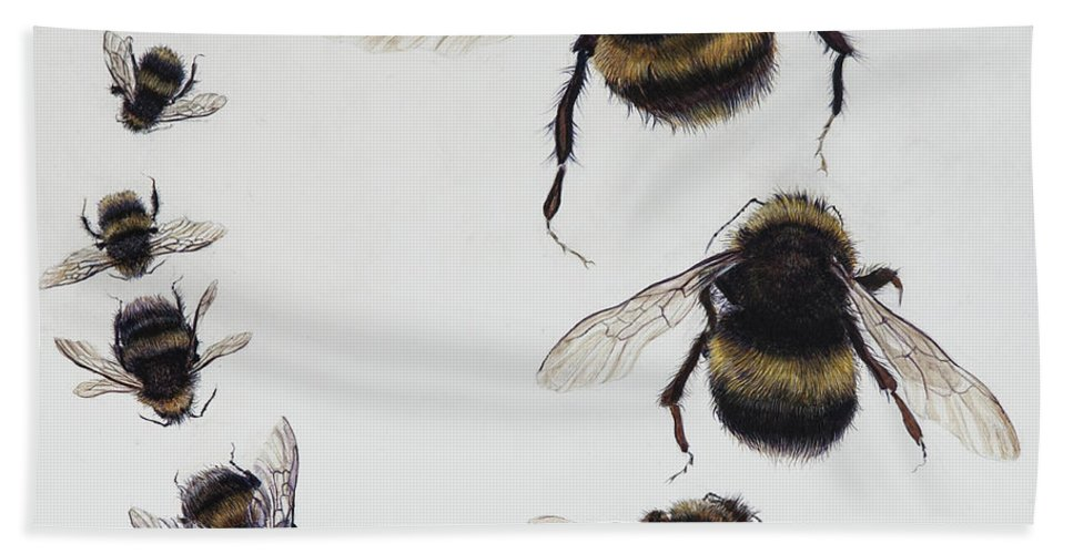 Nature Bath Towel featuring the painting Bombus by Odile Kidd