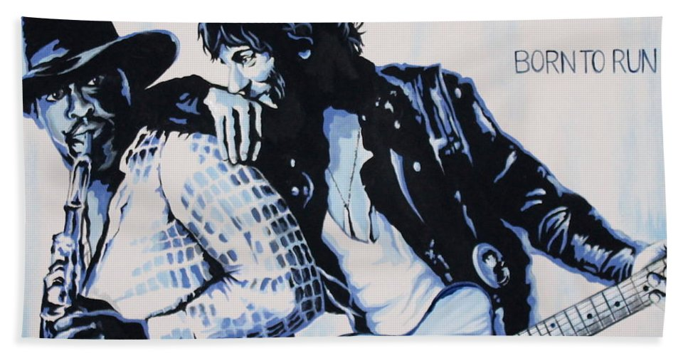 Bruce Springsteen Bath Towel featuring the painting Born to Run Bruce Springsteen by Amy Belonio