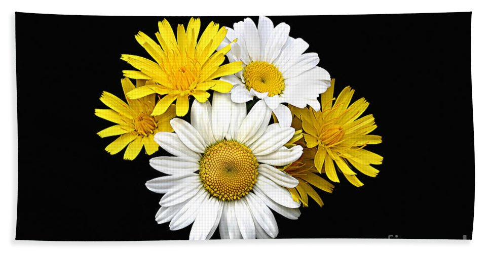 Close Up Bath Towel featuring the photograph bouquet Ox-eye Daisy and Seaside Dandelion by Robert C Paulson Jr