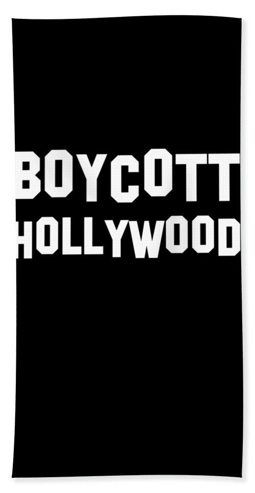 Cool Bath Towel featuring the digital art Boycott Hollywood by Flippin Sweet Gear
