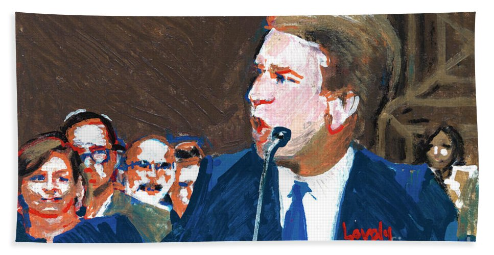 Christine Blasey Ford Testifies Before Senate Bath Towel featuring the painting Brett Kavanaugh Testifies Before Senate by Candace Lovely