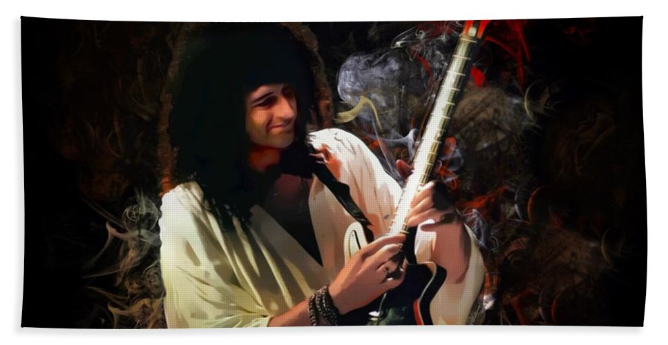 Brian May Bath Towel featuring the digital art Brian May Of Queen Portrait by Scott Wallace Digital Designs