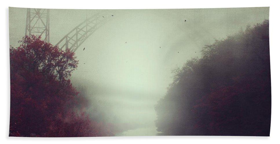 Fog Bath Towel featuring the photograph Bridge And River In Fog by Dirk Wuestenhagen