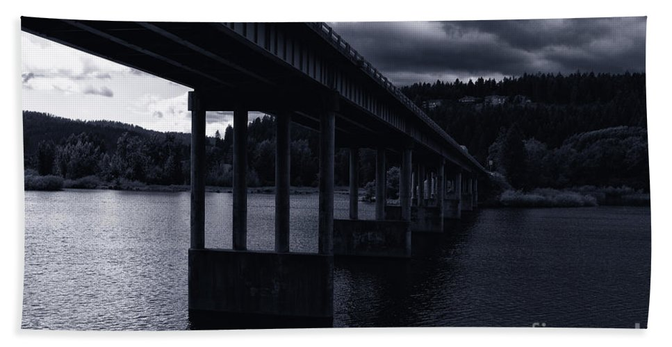 Spokane River Hand Towel featuring the photograph Bridge Over Spokane River Cloudy Day by Matthew Nelson