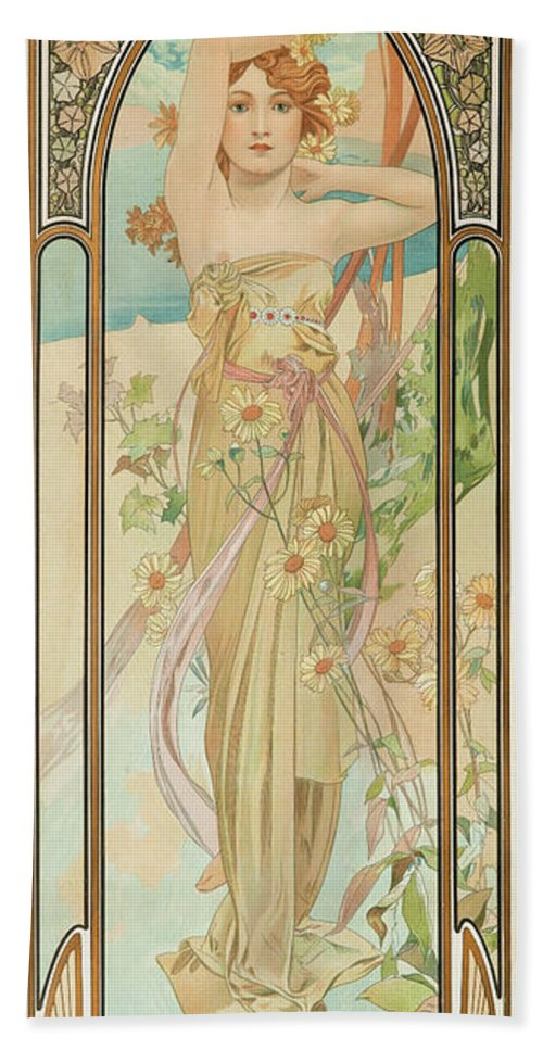 Alfons Mucha Bath Towel featuring the painting Brightness Of Day, 1899 by Alfons Mucha