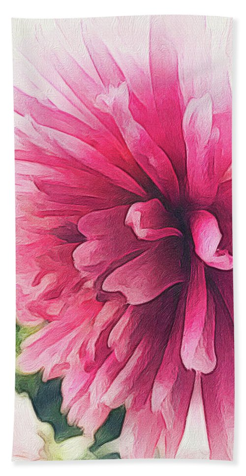 Brushstroke Hand Towel featuring the photograph brushstroke Soft Pink Dahlia by Trice Jacobs