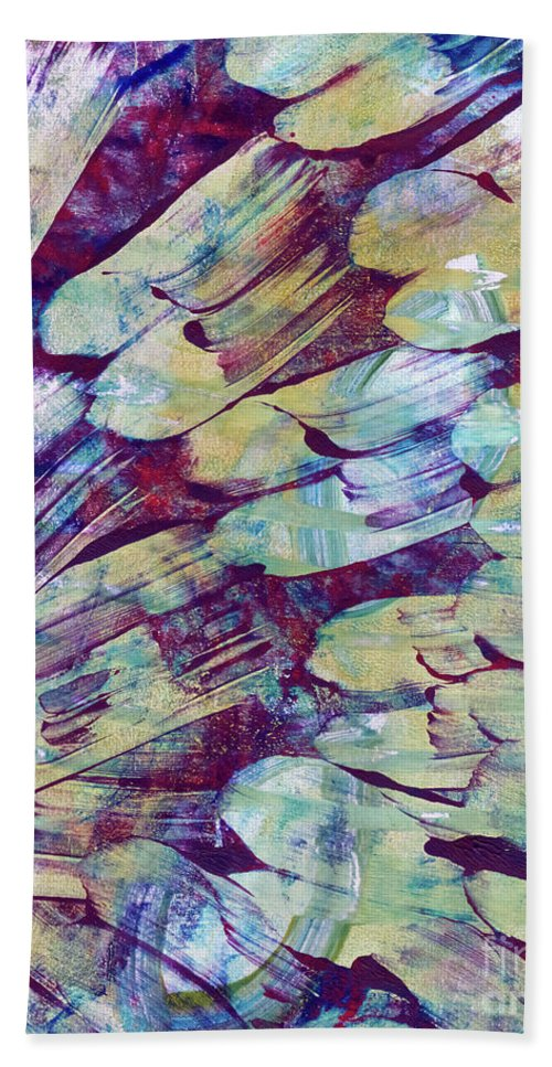 Abstract Bath Towel featuring the painting Brushstrokes Featured by Laura L Leatherwood