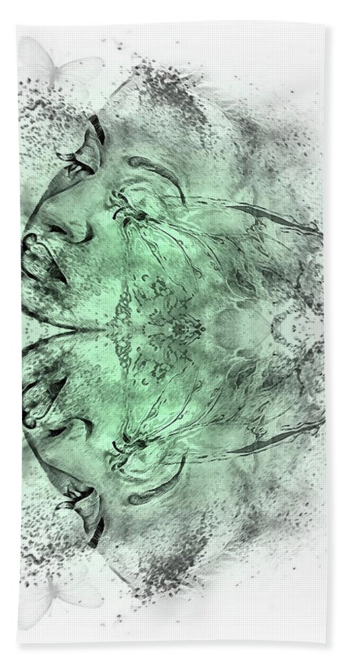 Double Exposure Bath Towel featuring the mixed media Butterfly Effect 03 by G Berry