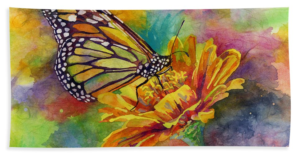 Butterfly Hand Towel featuring the painting Butterfly Kiss by Hailey E Herrera